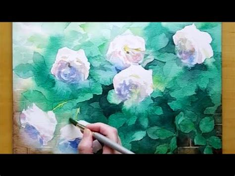 #10 透明水彩で白バラを描く|Painting White Roses in Watercolor - YouTube